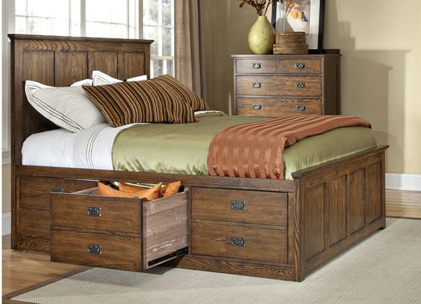 Intercon Oak Park 2pc Bedroom Set with 3 Drawer Queen Universal Bed INT-OP-BR-5850-QS-3DWR-BR-S3