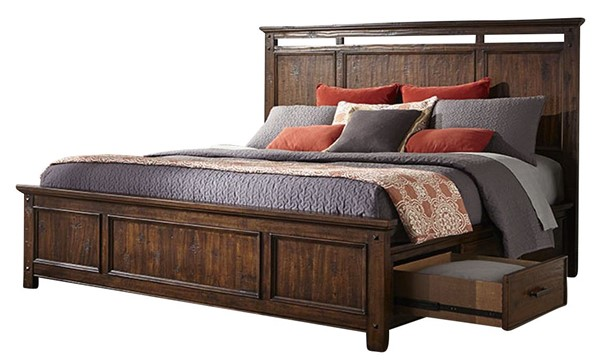 Intercon Wolf Creek Acacia 6 Drawer Panel Beds INT-WK-BR-6163S-VAC-BED-VAR