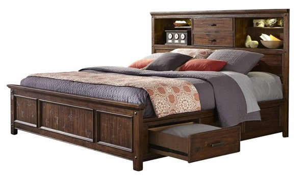 Intercon Wolf Creek Acacia 3 Drawers Cal King Bookcase Beds INT-WK-BR-6190BS-VAC-BED-VAR