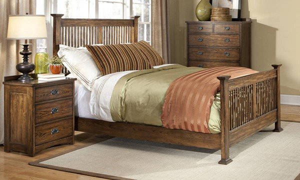 Intercon Oak Park 2pc Bedroom Set with King Slat Bed INT-OP-BR-5825K-BR-S2