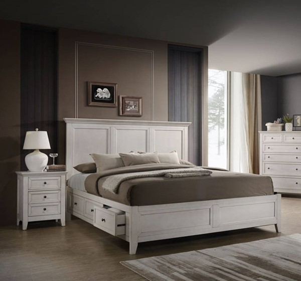 Intercon San Mateo White 2pc Bedroom Set with King Drawer Bed INT-SM-BR-8865KS-RWH-BR-S3
