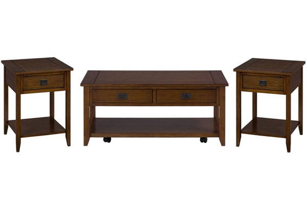 Mission Casual Oak Wood 3pc Coffee Table Set JFN-1032-OCT-S