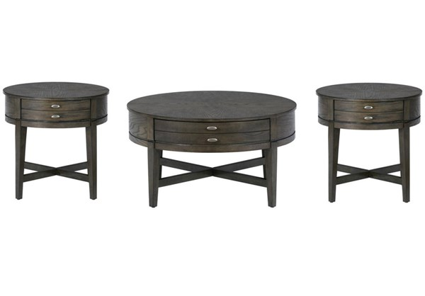 Miniatures Transitional Antique Gray Wood 3pc Coffee Table Set JFN-729-OCT-S