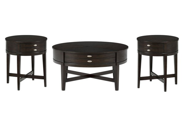 Kent Casual Oak Wood 3pc Coffee Table Set JFN-844-CT-S