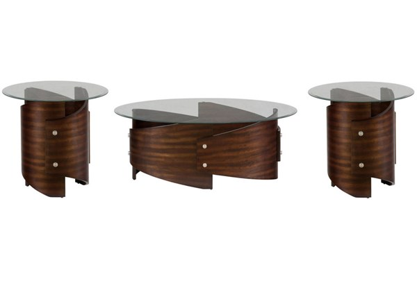 Waterville Contemporary Walnut 3pc Coffee Table Set JFN-956-OCT-S