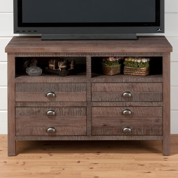 Falmouth Weathered Grey Wood 42 Inches Media Unit w/4 Drawers JFN-067-42