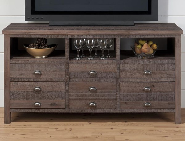 Falmouth Weathered Grey Wood 60 Inches Media Unit w/6 Drawers JFN-067-60