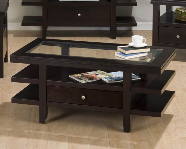 Marlon Contemporary Wenge Cocktail Table w/3 Tier Shelves JFN-091-1