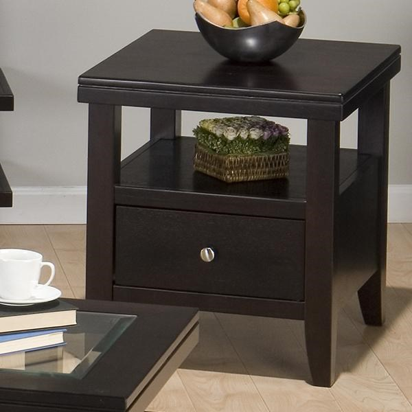 Marlon Contemporary Wenge Wood Rectangle End Table w/1 Drawer & Shelf JFN-091-3