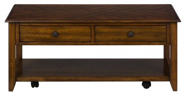 Medium Casual Cocktail Table w/2 Drawers & Bronze Hardware JFN-1031-1