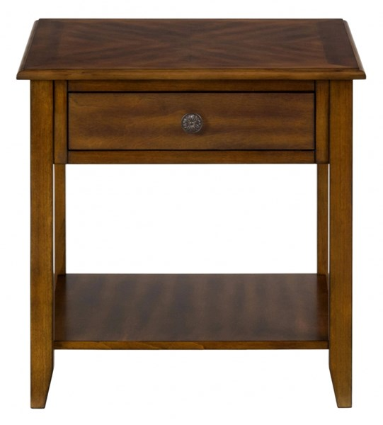 Medium Casual End Table w/One Drawer & Antique Bronze Hardware JFN-1031-3