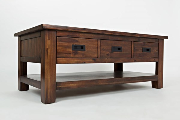 Coolidge Corner Casual Wood Cocktail Table w/3 Pull Through Drawers JFN-1500-1