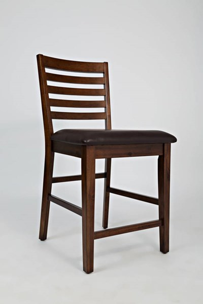2 Coolidge Corner Faux Leather Wood Ladderback Counter Height Stools JFN-1501-BS380KD