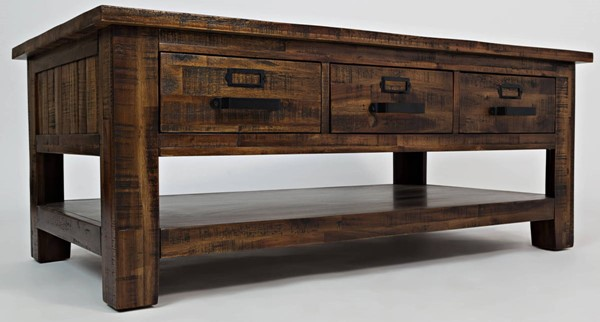 Jofran Furniture Cannon Valley Light Distressed 3 Drawers Cocktail Table JFN-1510-1
