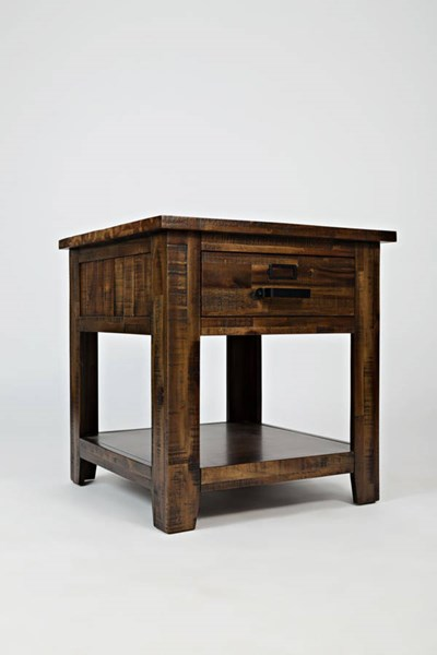 Cannon Valley Transitional Solid Wood Drawer & Shelf End Table JFN-1510-3