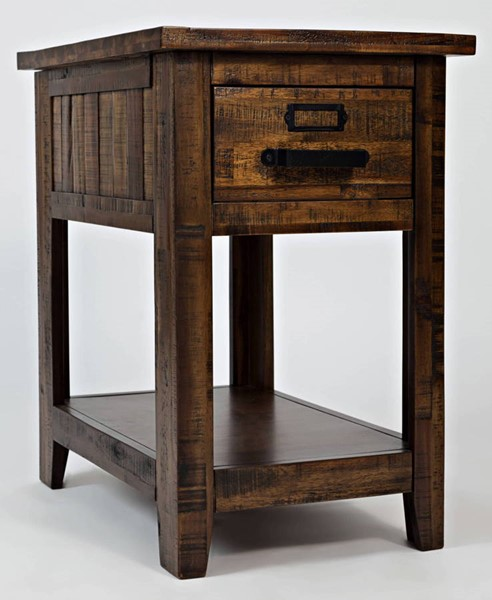 Jofran Furniture Cannon Valley Light Distressed Drawer Chairside Table JFN-1510-7