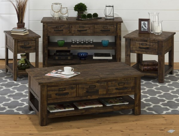 Cannon Valley Transitional Solid Wood 3pc Coffee Table Set JFN-1510-OCT-S1