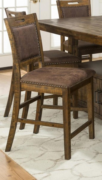 2 Cannon Valley Solid Wood Upholstered Back Counter Height Stools JFN-1511-BS380KD