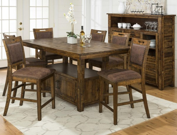 Cannon Valley Solid Wood Upholstered Back Counter Height / Bar Set JFN-1511-BAR
