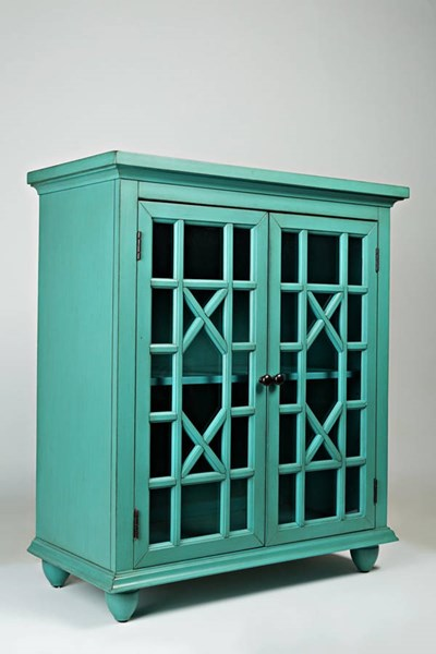 Brighton Park Casual Turquoise Wood Two Glass Doors Accent Cabinet JFN-1530-31