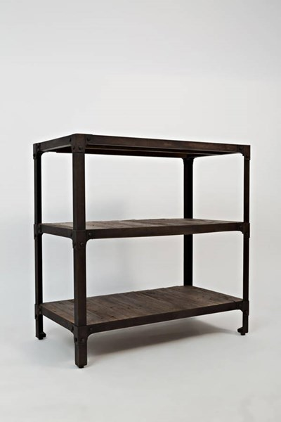 Franklin Forge Contemporary Metal Wood Reclaimed Pine Bookcase JFN-1540-30