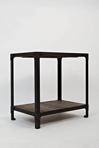 Franklin Forge Contemporary Metal Wood Reclaimed Pine Chairside Table JFN-1540-7