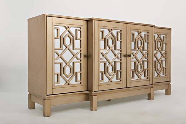 Jofran furniture casa bella campagne gold 70 inch mirrored for 70 inch console table