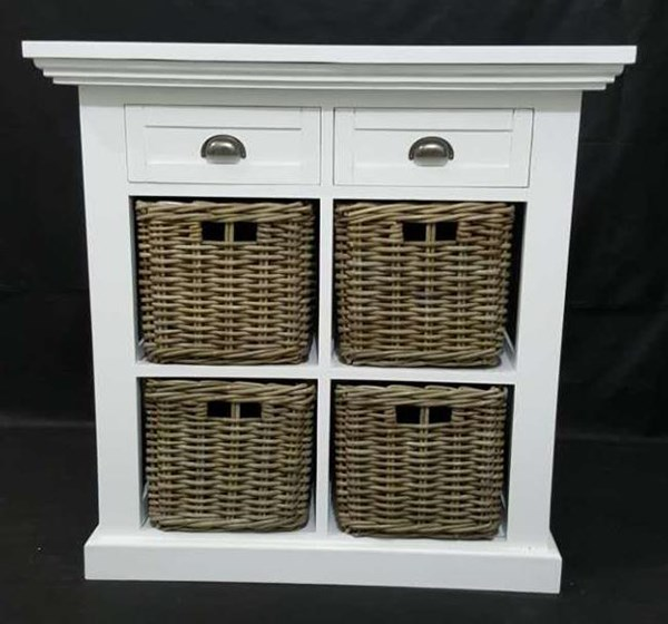 Natural Origins White Wood 2 Drawers & 4 Baskets Small Accent Chest JFN-1570-36