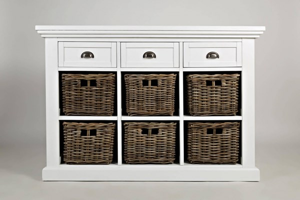 Natural Origins White Wood 3 Drawer & 6 Basket Large Accent Chest JFN-1570-49