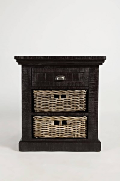 Natural Origins Grey Wood Drawer & 2 Baskets End Table JFN-1575-3