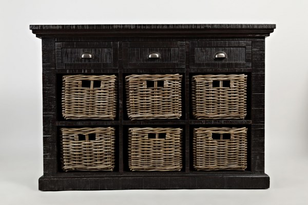 Natural Origins Grey Wood 3 Drawer & 6 Basket Large Accent Chest JFN-1575-49