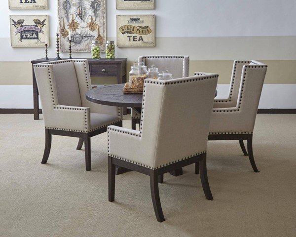 Pacific Heights Transitional Dark Coffee Wood Pedestal Dining Room Set JFN-1580-90-DR