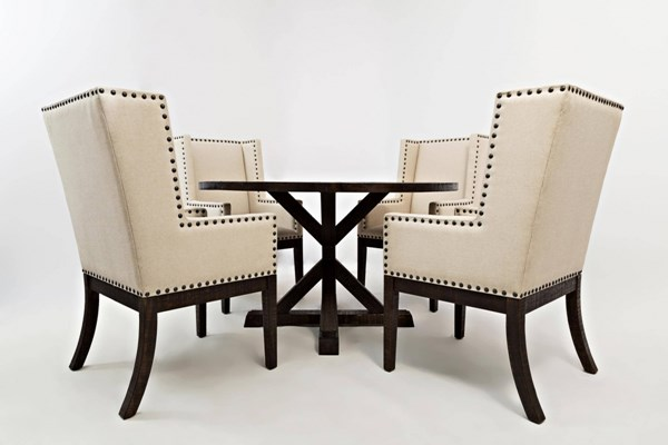 Pacific Heights Transitional Coffee Wood Pedestal 5pc Dining Room Set JFN-1580-90-DR-S