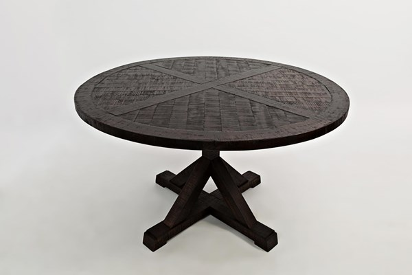 Pacific Heights Dark Coffee Wood Round Pedestal Dining Table JFN-1580-52
