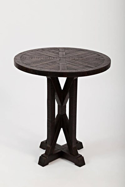 Pacific Heights Transitional Dark Coffee Solid Wood Pedestal End Table JFN-1581-3
