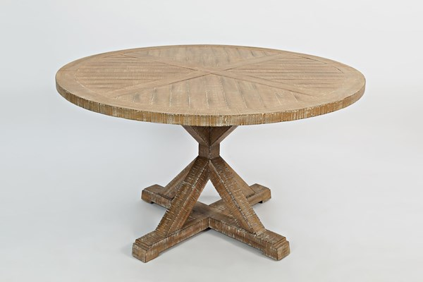 Pacific Heights Cream Coffee Wood Round Pedestal Dining Table JFN-1590-52