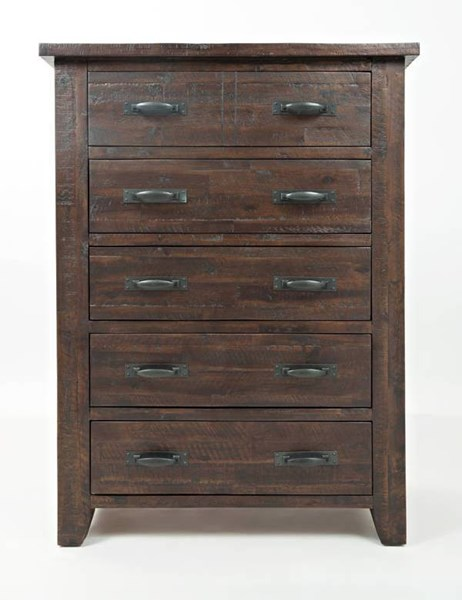 Jackson Lodge Youth Rustic Deep Chocolate Acacia Wood 5 Drawer Chest JFN-1605-30
