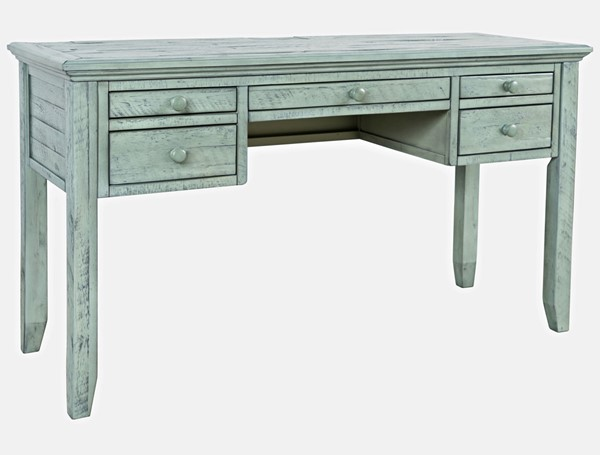 Jofran Furniture Rustic Shores Blue Green Distressed Acacia USB Charging Desk JFN-1615-5620