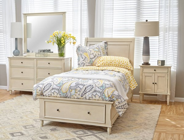 Avignon Youth Rustic Ivory 2pc Bedroom Set W/Twin Storage Bed JFN-1617-65666768-S