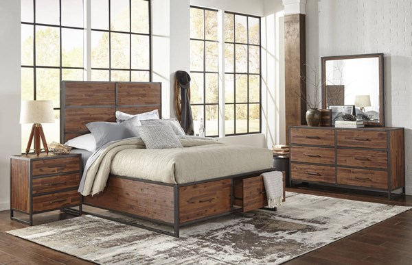 Studio 16 Warm Brown Acacia Solid Metal Frame Master Bedroom Set JFN-1663-BR