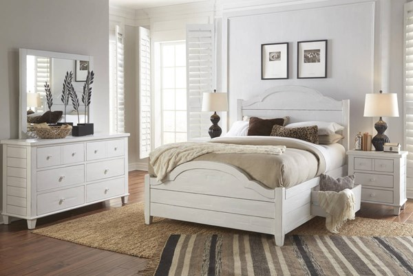 Chesapeake White Acacia Solid Drawer Storage Master Bedroom Set JFN-1673-BR
