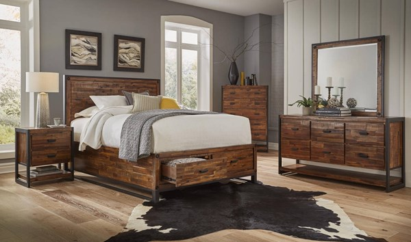 Loftworks Distressed Warm Acacia Solid Metal Master Bedroom Set JFN-1693-BR
