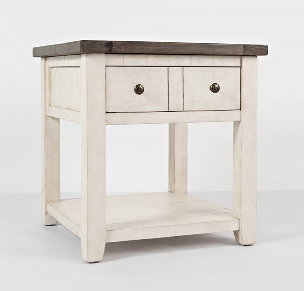 Jofran Furniture Madison County Vintage White End Table JFN-1706-3
