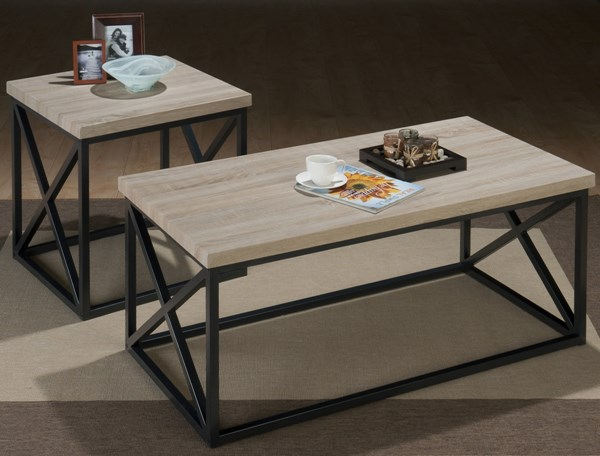 Orion Contemporary Ash Grey Wood Metal 3 Pack Table JFN-172