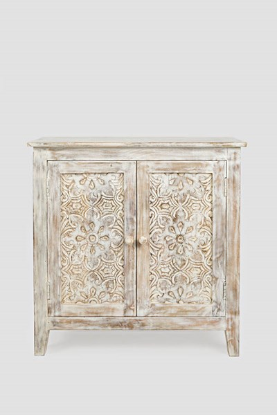 Jofran Furniture Global Archive White Wash Hand Carved Accent Chest JFN-1730-56