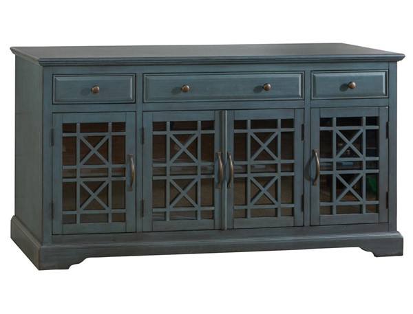 Craftsman Blue Wood Glass Doors & Drawers 60 Inches Media Console JFN-175-60