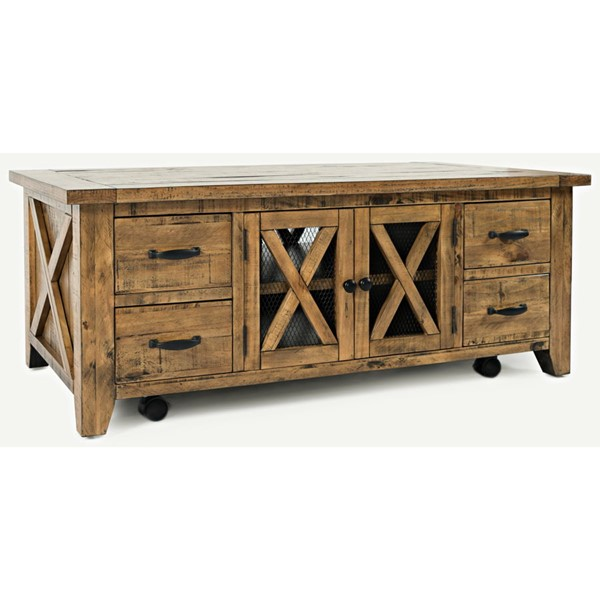 Jofran Furniture Telluride Naturally Distressed Coffee Table with Casters JFN-1800-5