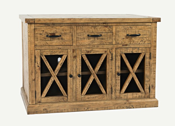 Jofran Furniture Telluride Naturally Distressed 3 Drawers Sideboard JFN-1801-52