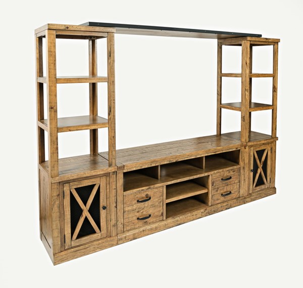 Jofran Furniture Telluride Naturally Distressed Entertainment Wall with 60 Inch Console JFN-1802-60-2178KDKT