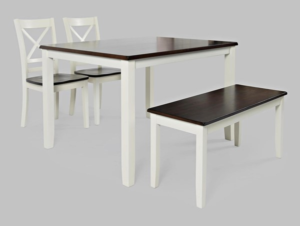 Jofran Furniture Asbury Park Brown White 4pc Dining Set with Bench JFN-1805